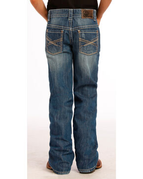 Rock & Roll Cowboy Boys' X Stitched Boot Cut Jeans, Indigo, hi-res