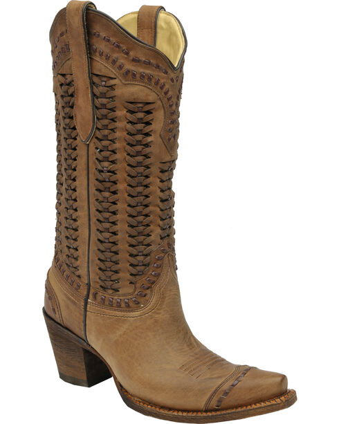 Corral Women's Braided Snip Toe Fashion Boots, Sand, hi-res