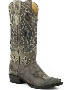 Stetson Women's Hannah Wingtip Underlay Western Boots - Snip Toe, Brown, hi-res