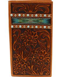 Ariat Men's Rodeo Ribbon Strip Turquoise Stone Wallet, , hi-res