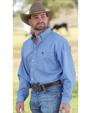 Cinch Men's Royal Blue Geo Print Western Shirt , Royal Blue, hi-res
