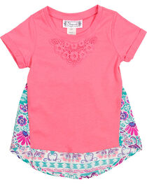 Shyanne Girl's Short Sleeve Floral Back Tee, , hi-res