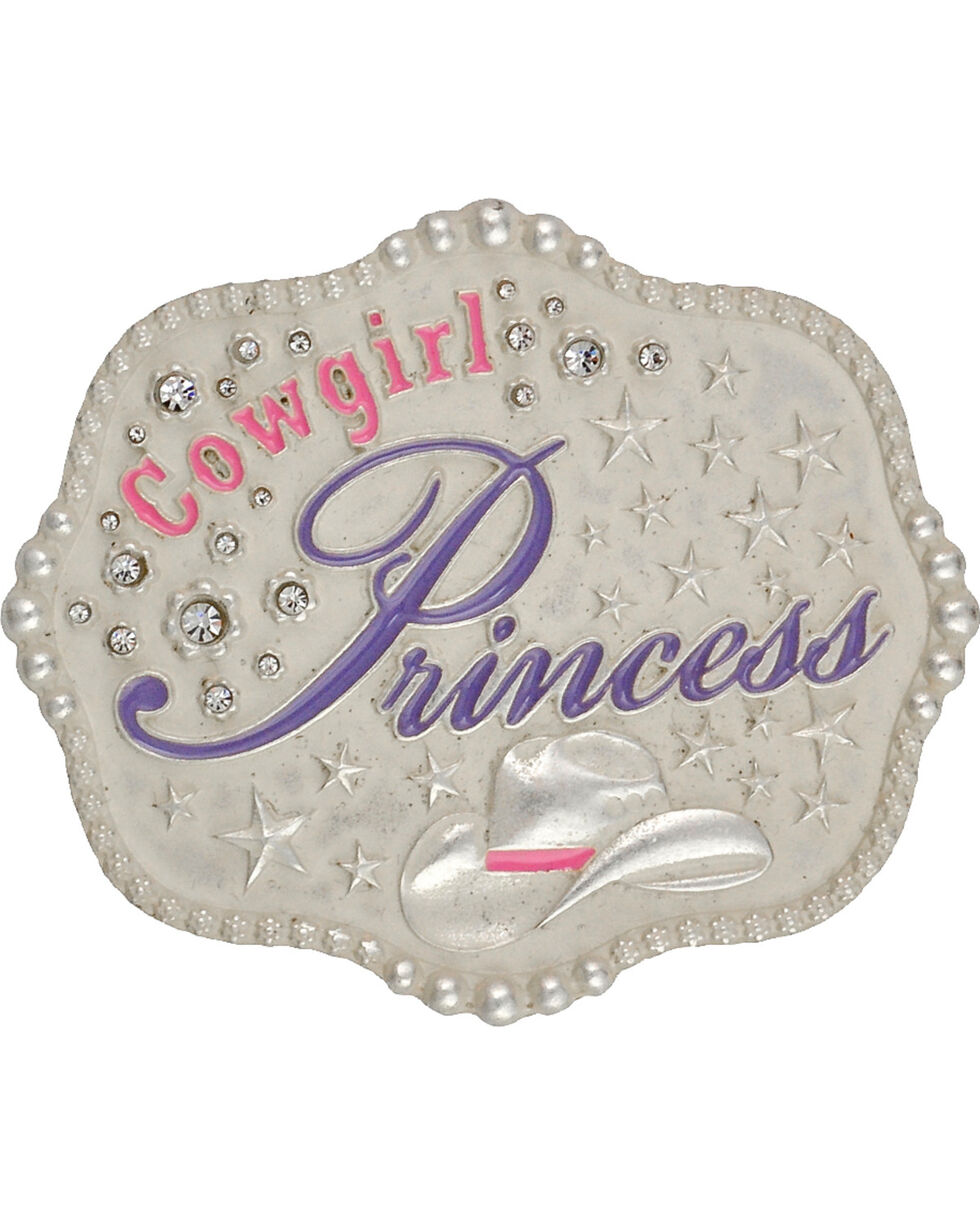 Montana Silversmiths Kid's Cowgirl Princess Belt Buckle, Silver, hi-res