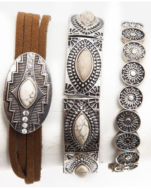 Shyanne® Women's Southwest Mixed Pattern Bracelet Set , Silver, hi-res