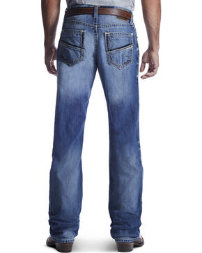 Ariat Men's M4 Shotwell Low Rise Boot Cut Jeans, Med Blue, hi-res