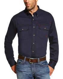 Ariat Men's Navy FR Solid Vent Shirt - Tall , , hi-res