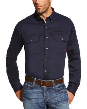 Ariat Men's Navy FR Solid Vent Shirt - Tall , Navy, hi-res