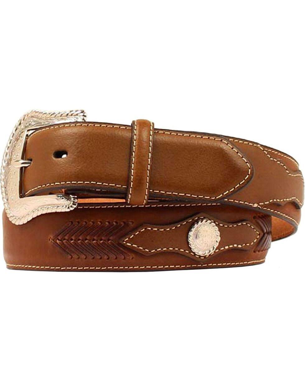 Nocona Men's Two Tone Whip Stitch Western Belt, Brown, hi-res