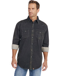 Cowboy Up Men's Black Embroidered Yoke Solid Shirt, , hi-res