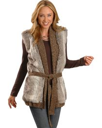 Cripple Creek Knitted Faux Fur Wrap Around Vest, , hi-res