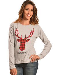 Realtree Girl Grey Deer Antler Long Sleeve T-Shirt, , hi-res