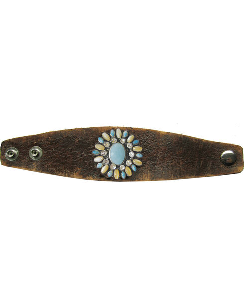 Cowgirl Confetti Leather Multi-Stone Flower Cuff, Brown, hi-res