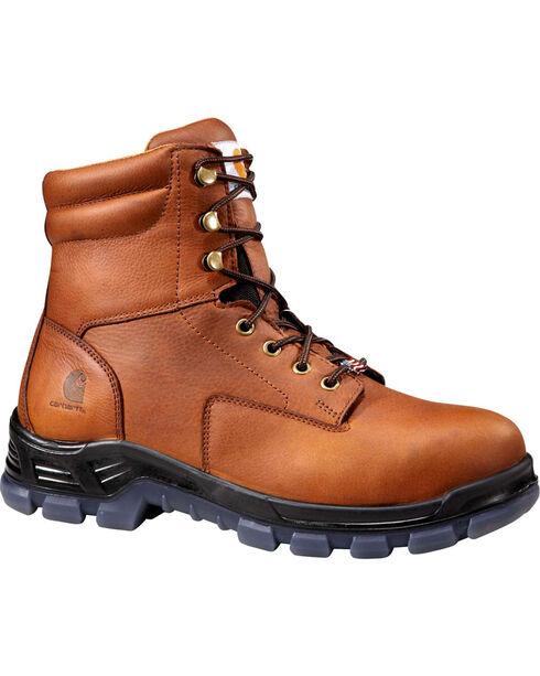 "Carhartt Men's 8"" Brown Waterproof Work Boots - Round Toe, Brown, hi-res"