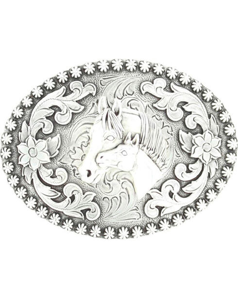 Silver-tone Floral & Mare Belt Buckle, Silver, hi-res