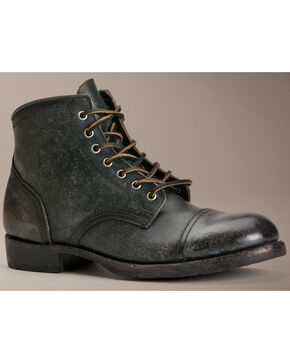 Frye Logan Cap Toe Lace Up Boots, Black, hi-res