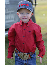 Cinch Toddler Boys' Red Button Down Western Shirt , , hi-res