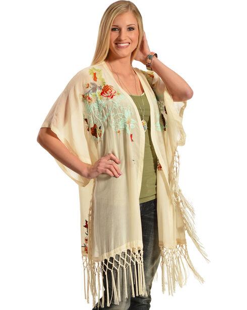 Johnny Was Women's Pearl Argent Fringe Kimono  , Pearl, hi-res