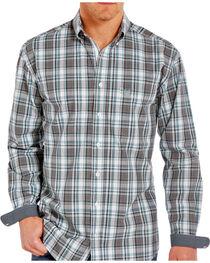Rough Stock Men's Classic Plaid Button Down Long Sleeve Shirt, Grey, hi-res