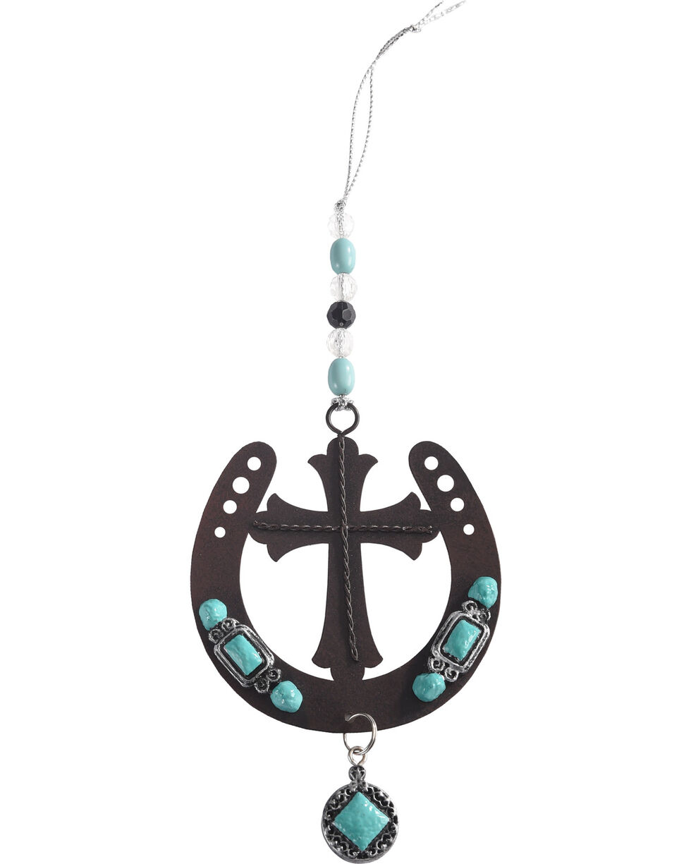 BB Ranch Cross and Horseshoe Ornament, Turquoise, hi-res
