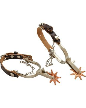 M&F Kid's Spur Set with With Leather Straps, Tan, hi-res