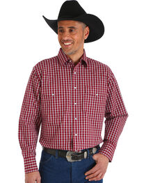 Wrangler Men's Wrinkle Resistant Burgundy Plaid Western Snap Shirt - Big & Tall, , hi-res