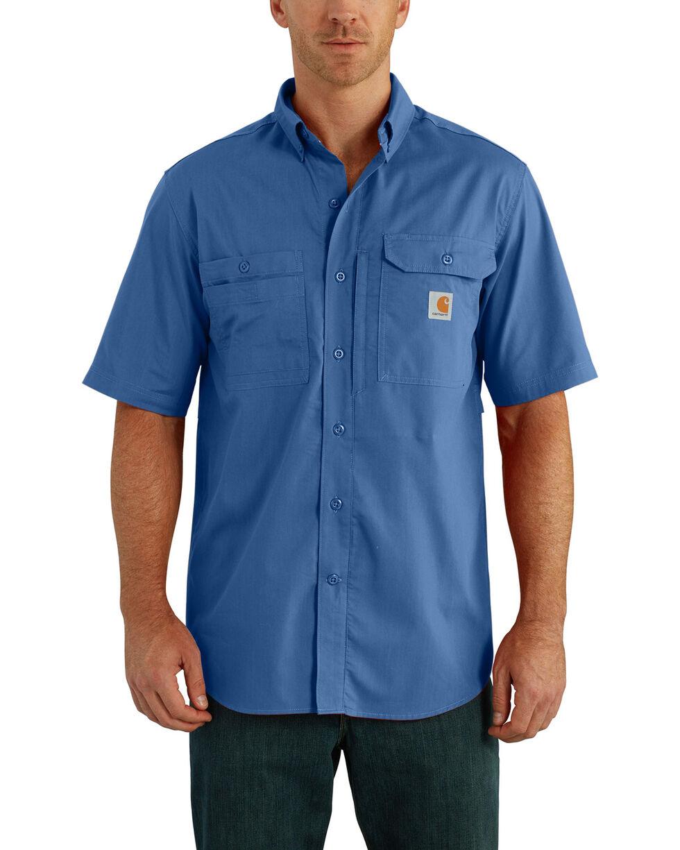 Carhartt Force Men's Blue Ridgefield Solid Short Sleeve Shirt, Medium Blue, hi-res