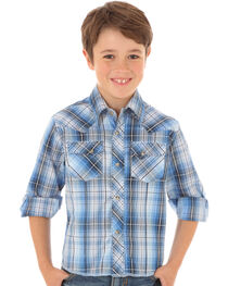 Wrangler Boys' Blue & Gray Plaid Long Sleeve Shirt, Blue, hi-res