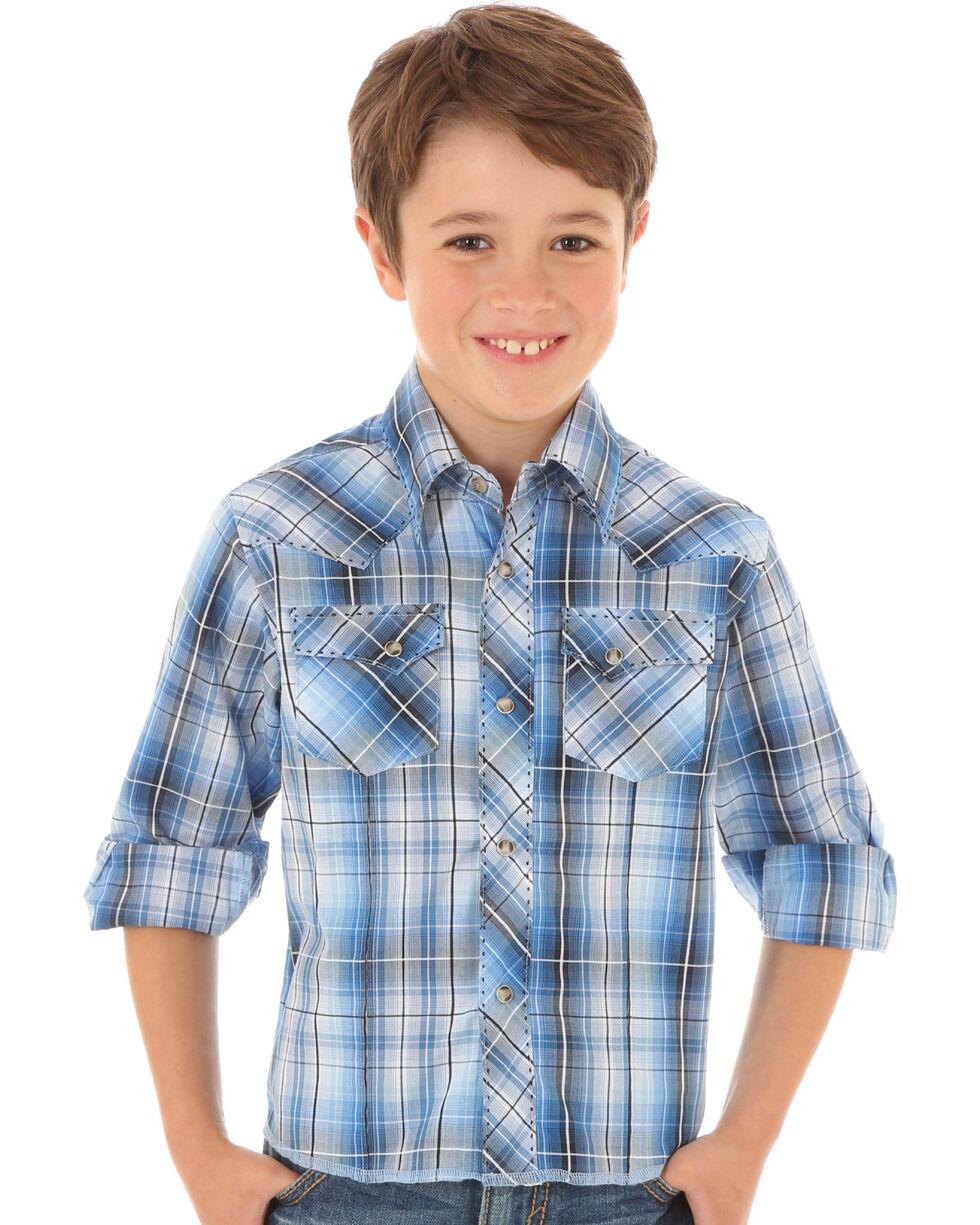 Wrangler Boys' Blue & Gray Plaid Long Sleeve Shirt, Blue, hi-res