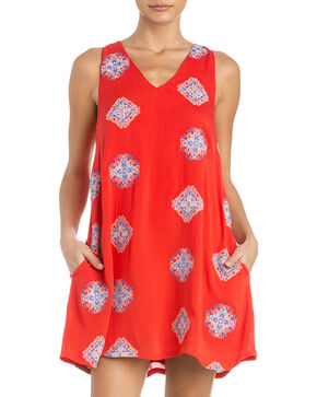 Miss Me Women's Piece Of Art Lace-Back Dress, Coral, hi-res