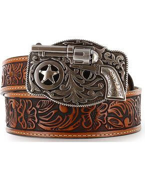 Justin Kid's Tooled Leather Belt, Brown, hi-res