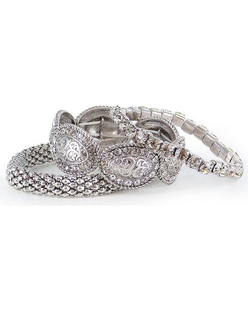 Shyanne® Women's Rhinestone Bracelet Set, Silver, hi-res