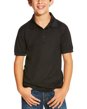 Ariat Boys' Solid Short Sleeve Polo, Black, hi-res