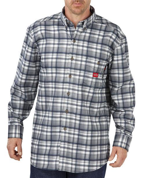 Dickies Men's Flame Resistant Plaid Shirt, Grey Plaid, hi-res