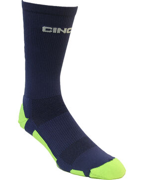 Cinch Men's Navy and Lime Crew Socks , Navy, hi-res