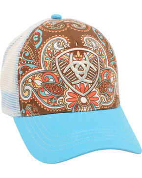 Ariat Women's Brown Paisley Trucker Cap, Blue, hi-res