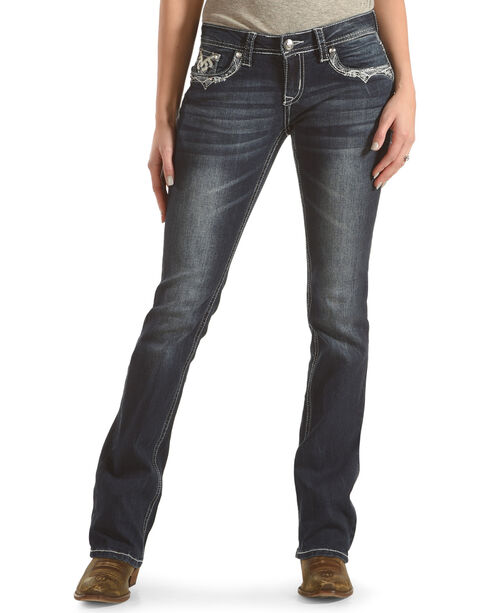 Grace in LA Women's Blue Abstract Embroidered Jeans - Boot Cut , Blue, hi-res