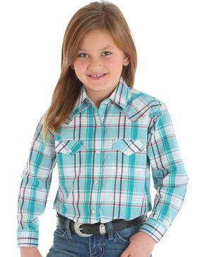 Wrangler Girls' Turquoise Western Plaid Shirt , Turquoise, hi-res