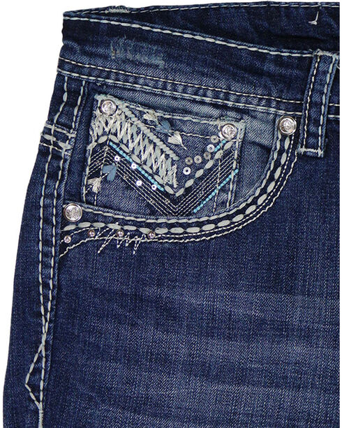 Grace in LA Women's Plus Size Embellished Pockets Straight Leg Jeans, Blue, hi-res