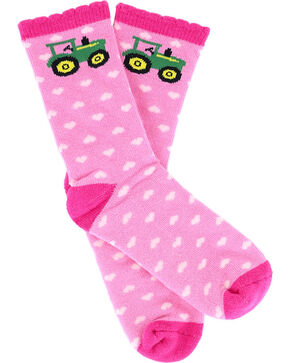 John Deere Girls' Hearts and Tractor Socks, Pink, hi-res