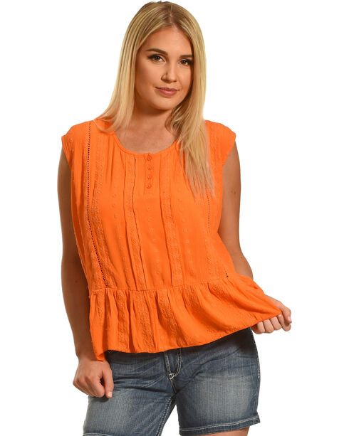 Jane Ashley by Jeetish Women's Ruffle Tank Top , Orange, hi-res