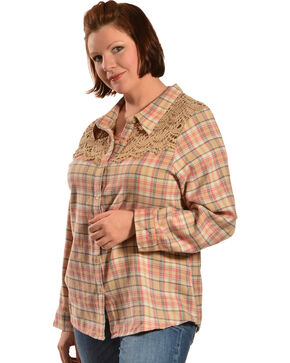 Red Ranch Women's Long Sleeve Crochet Flannel Tan Plaid Shirt - Plus, Tan Plaid, hi-res