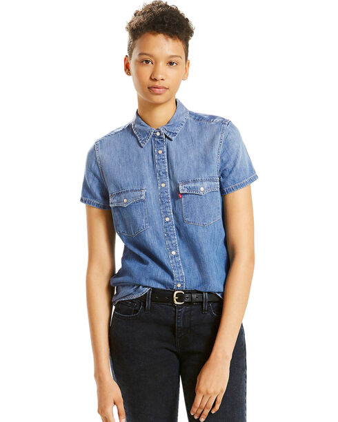 Levi's Women's Love Blue Short Sleeve Western Shirt , Blue, hi-res