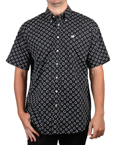 Cinch Men's Boot Barn Exclusive Printed Short Sleeve Shirt, Black, hi-res