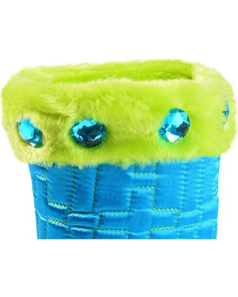 Blazin Roxx Girls' Quilted Cross Slipper Booties, Turquoise, hi-res