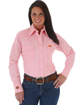 Wrangler Women's FR Long Sleeve Shirt, Pink, hi-res