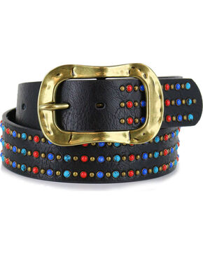 Shyanne Women's Multi-Colored Studded Belt, Black, hi-res