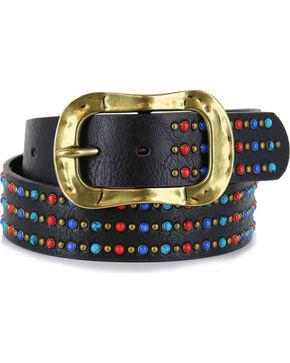 Shyanne Women's Multi-Colored Studded Belt, Black, hi-res