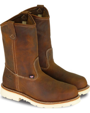 "Thorogood Men's 11"" American Heritage MAXwear 90 Wellington Work Boots - Steel Toe, Brown, hi-res"