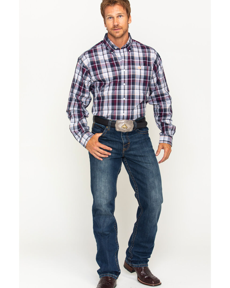 Cinch Men's Navy Plaid Button Down Shirt , Navy, hi-res
