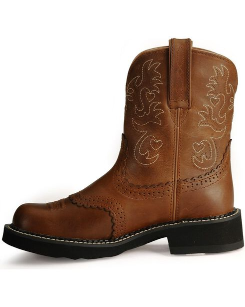 "Ariat Women's Fatbaby Scalloped 8"" Western Boots, Saddle Brown, hi-res"